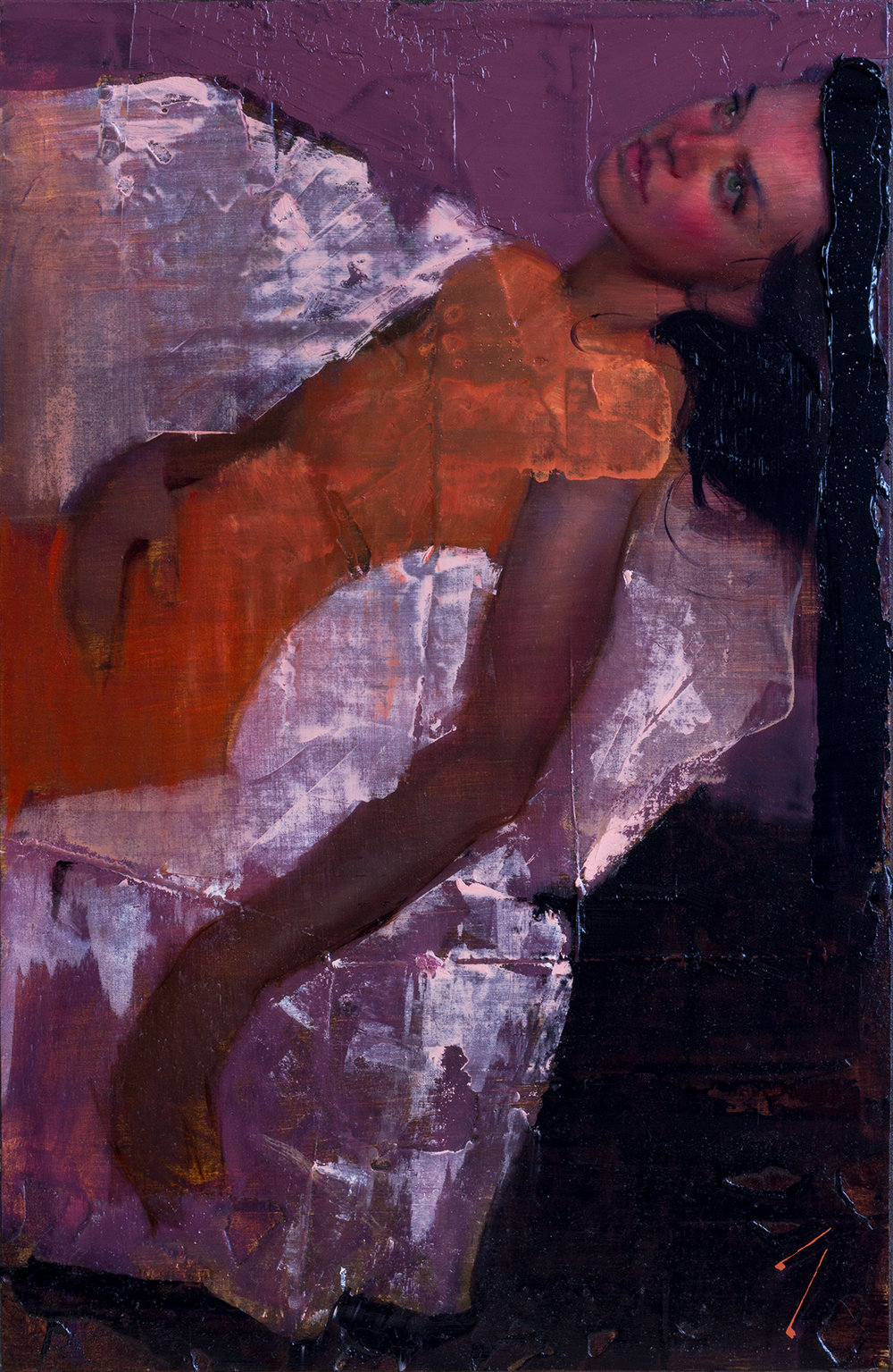 "Orange Dress, Oil on linen mounted panel, 13x22"" (33x565 cm)"