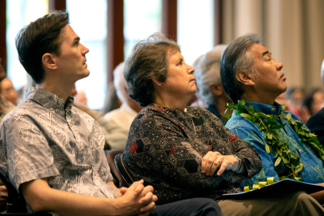 From left, Scott Glenn, director of the state Office of Environmental Quality Control; Suzanne Case, director of the Department of Land and Natural Resources; and Gov. David Ige listen to a presentation at the inaugural Hawaii Climate Conference earlier this week.