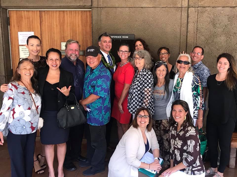 "Advocates stand with Rep. Tina Wildberger, South Maui District 11 Representative, after the hearing for hb 1326. Rep. Wildberger was the only Committee member to vote ""no"" on allowing unrestricted stream diversions to continue for another seven years."