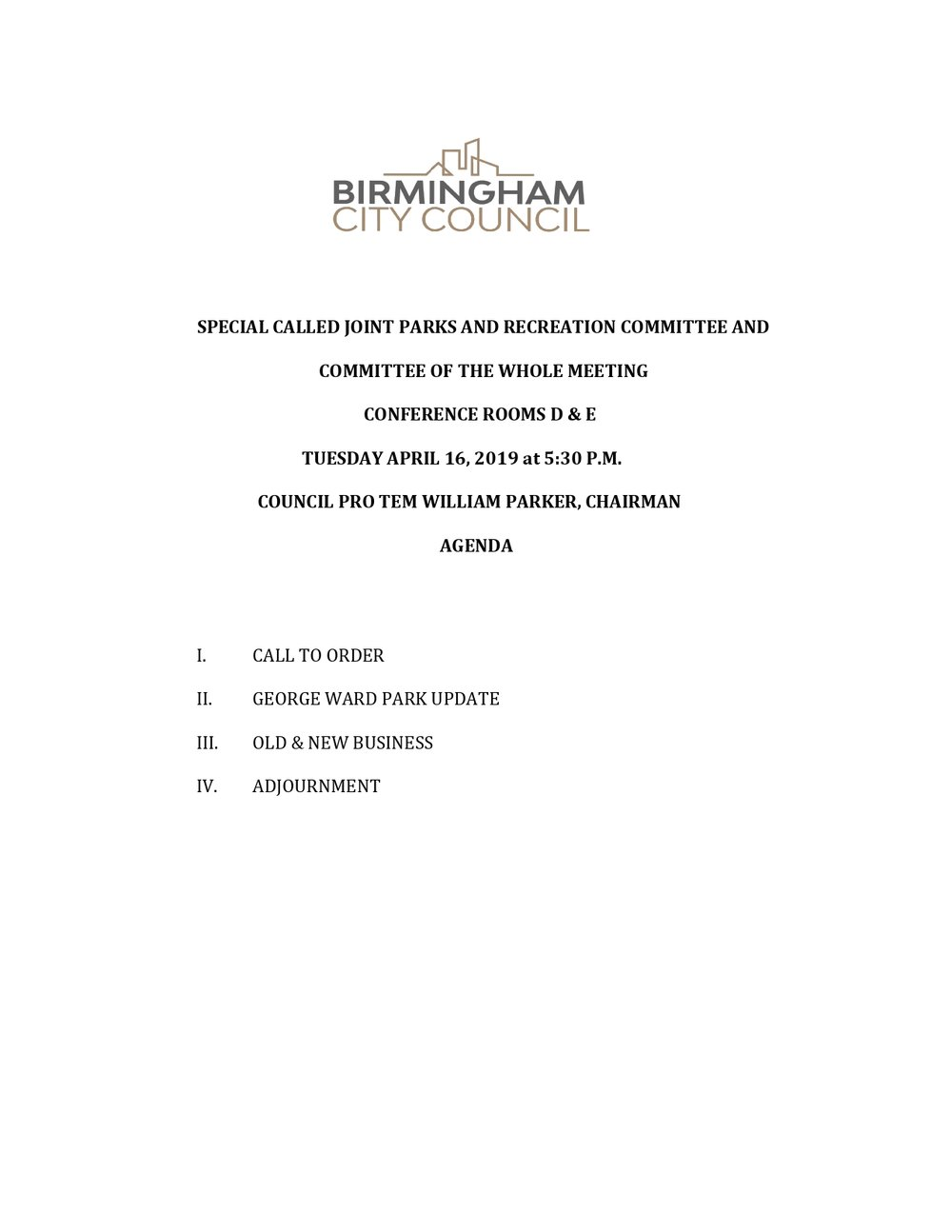 Special Called Parks and Recreation Committee Meeting Agenda April 16,2019