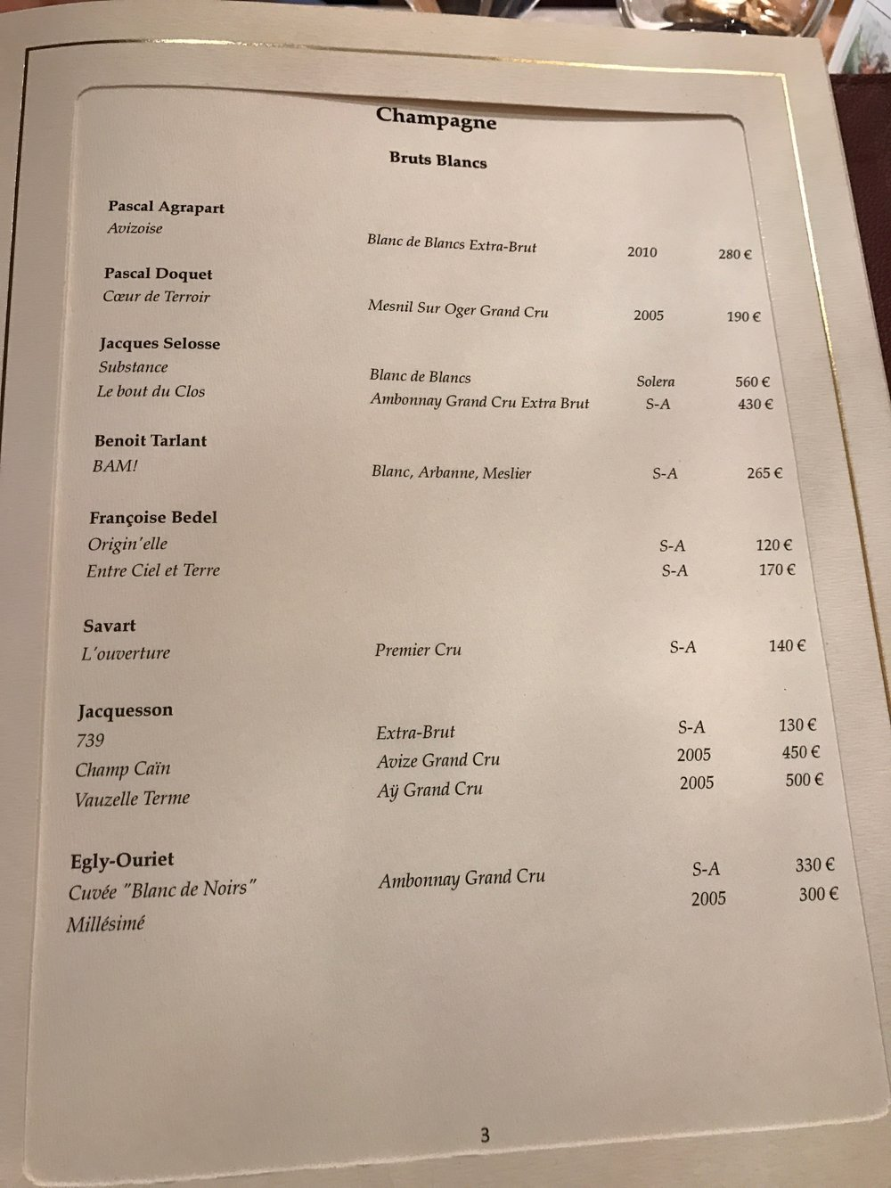 The wine list at the 3 Michelin star Arpége. Paris.