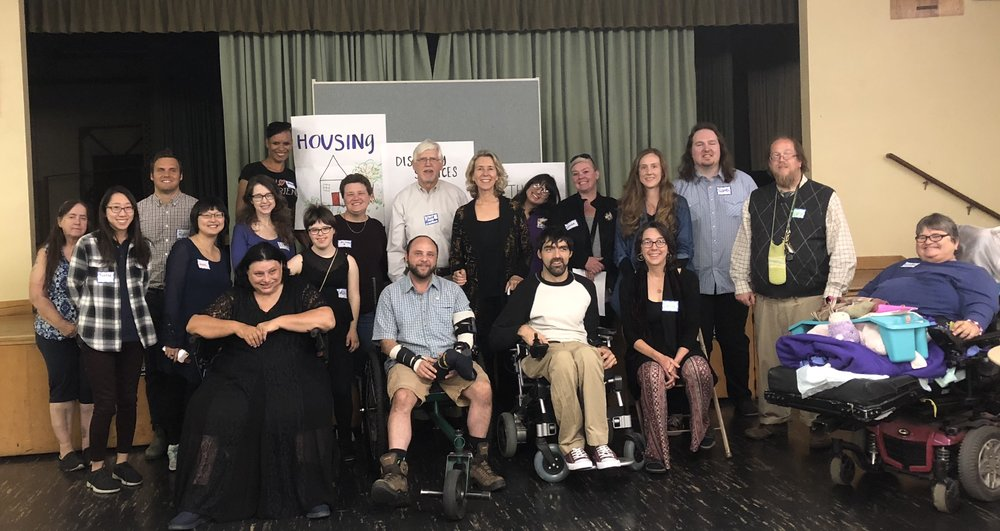 Group image of self-advocates, support providers, advocates, and legislators at a Build A Movement (BAM) event in Portland. Courtesy of Jennifer Knapp.