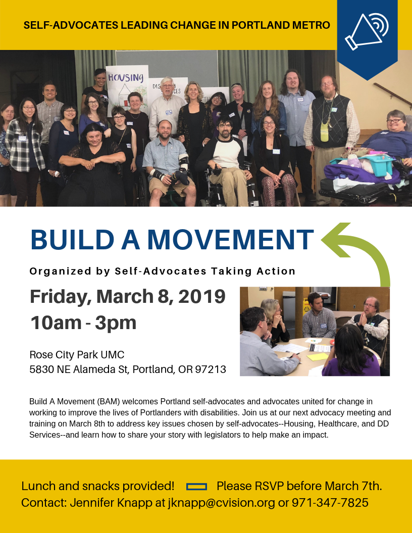 Image description: Build A Movement event flyer.