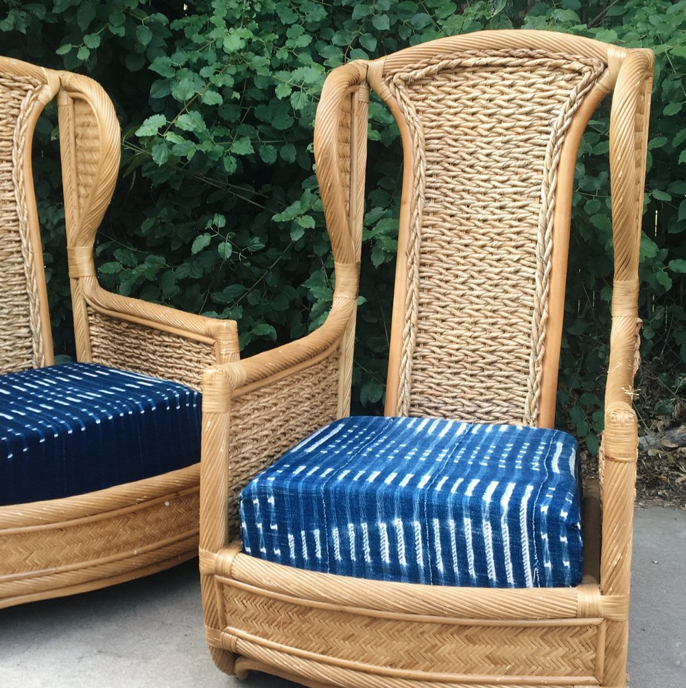 Custom Upholstery - we take one-of-a-kind vintage pieces and give them new life through fresh textiles from around the world.  textiles imported from street markets around the world or hand woven from Valdese Weavers in North Carolina.  contact us today for current available pieces or to get a quote on your own piece.