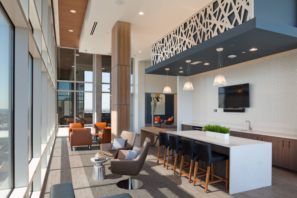 - The amenity spaces include a leasing office, residential lobby, club room, fitness, sky lounge and multi-functional media room totaling 12,946 sq. ft. at a cost of $57.44/sq. ft.