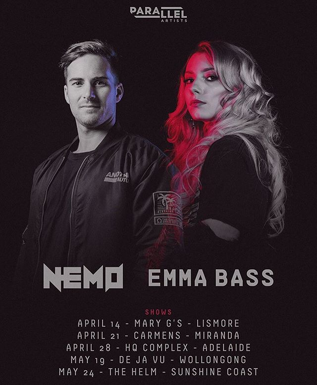 @nemo_aus & @emmabassmusic on the road ✈️🚘 More shows TBA...