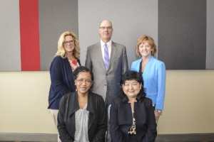 New Spencer Board members: Front row (l to r): Dr. Cassandra Cole (Florida State University) and Dr. Weili Lu (California State University – Fullerton). Back row (l to r):  Andrea Dudek (Accenture), Stephen Grabek (AIG), and Debbie Michel (Liberty Mutual).