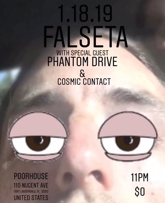 Rocking out at @poor_house with our dudes in @falseta and @cosmic_contact on Jan. 18th! Stoked to be back in Fort Lauderdale! Come hang out!