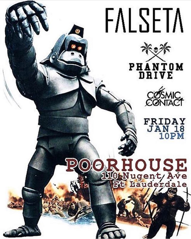 We are returning to Poorhouse in Ft. Lauderdale next Friday with our friends @falseta and our new friends @cosmic_contact and it's a Free Show!! COME OUT AND HANG!