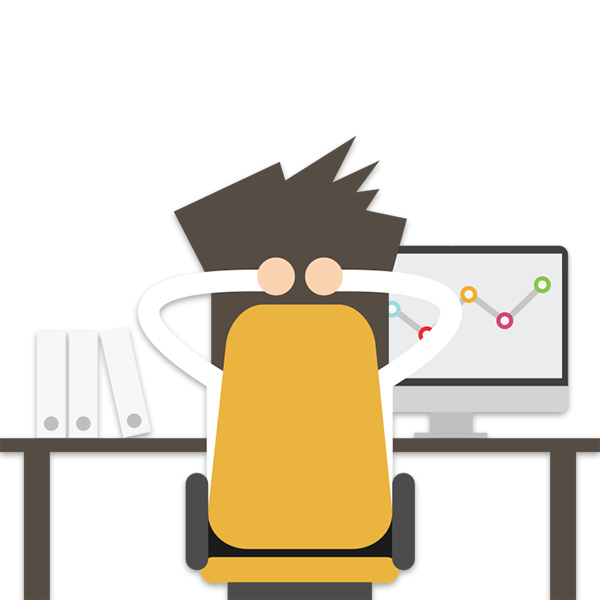 An animated man, sitting back at his desk watching new customers click through to his website.