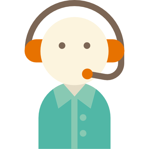 An animated account manager, wearing a headset, ready to talk about your needs.