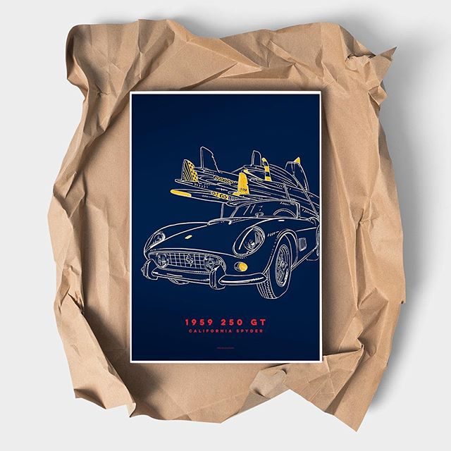 250GT California Spyder PRINTS FOR SALE Giclee print 100% archival cotton paper Signed prints #carsandcoffee