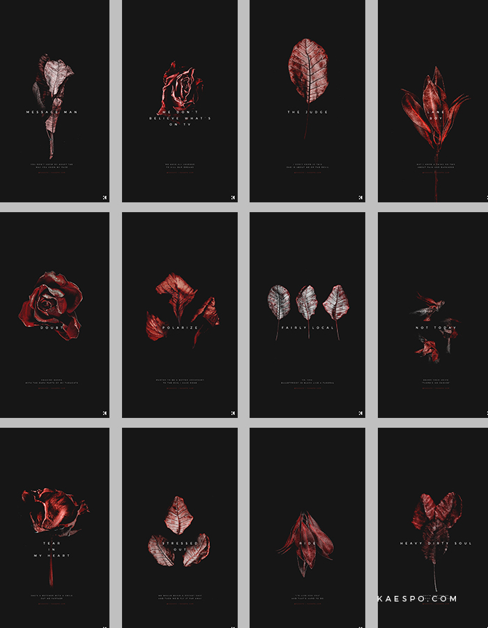 Wallpapers No. 421 - Dead Red Florals + Blurryface Album Lyrics — KAESPO Design