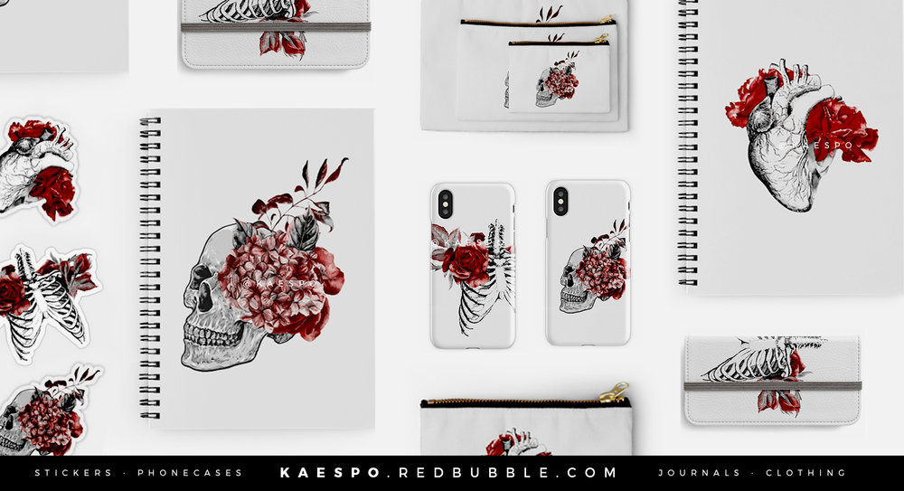 Floral Anatomical T Shirts and Stickers KAESPO Design | Graphics + Brands, Edmonton