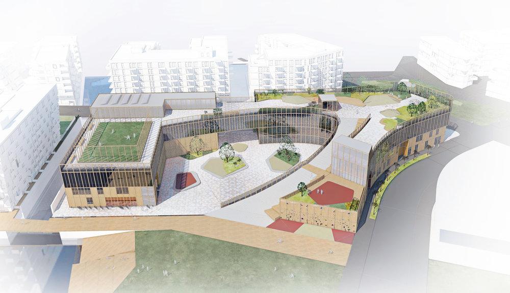 Planforum Arkitekter_Bjørvika skole_Fugleerspektiv fra Loalmenningen_.jpg
