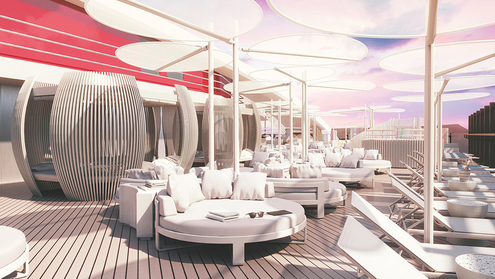VIP deck on the Virgin Voyage Cruise liner