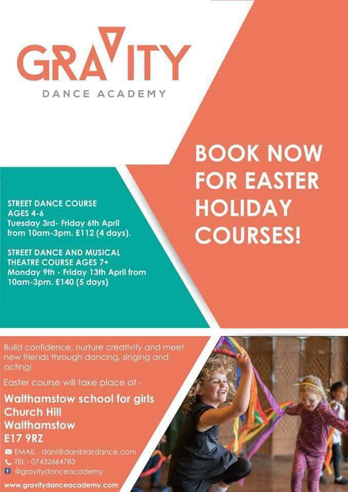 Exciting news! We now have brand new Easter course for ages 4+ at Walthamstow school for girls.  Book your place now for one whole week of singing, dancing and acting fun!!  -