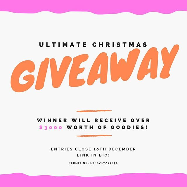 We've partnered up with some amazing Aussie brands to put together a prize worth over $3000!! Enter through the link in our bio, all you need to do is enter your name, email address, age range and state for your chance to WIN! Tag ya mates! Good luck! (Open to Australian residents only, sorry!) #ultimatechristmasgiveaway17  #giveaway #prize #win #gift #competition #entertowin #enter