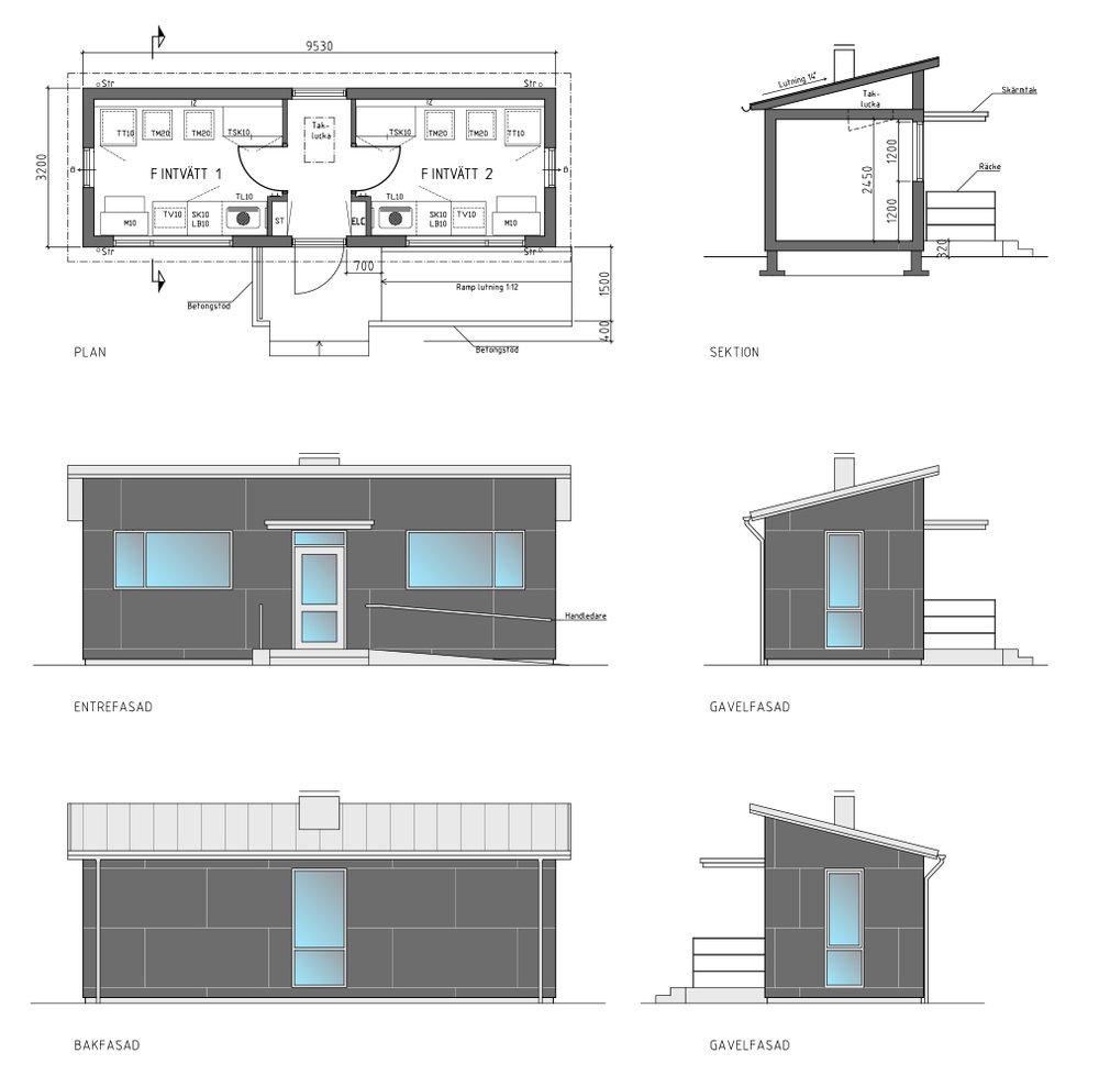 fakta - Modell: Enkelmodul med två fintvättstugorAntal tvättpass: 80 pass i veckanAntal lägenheter: Denna tvättstuga passar för mellan 70–90 hushåll/lägenheter.