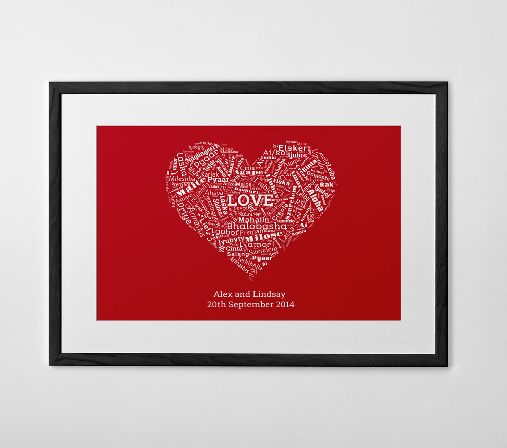 - Word shape: See your words for the special couple transformed into a special gift. This is the ideal way to illustrate the couple's journey together, or to create a piece of wall art packed with romantic sentiments.