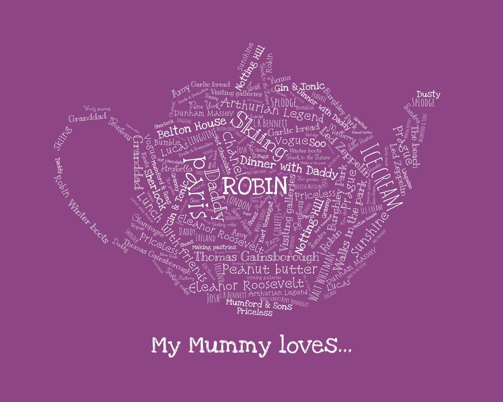 Word shape - Our Word Shape is a flexible design to celebrate everything you love about your mum. From teapots and champagne flutes to shoes and pets, we're sure you'll find something that suits her personal interests.