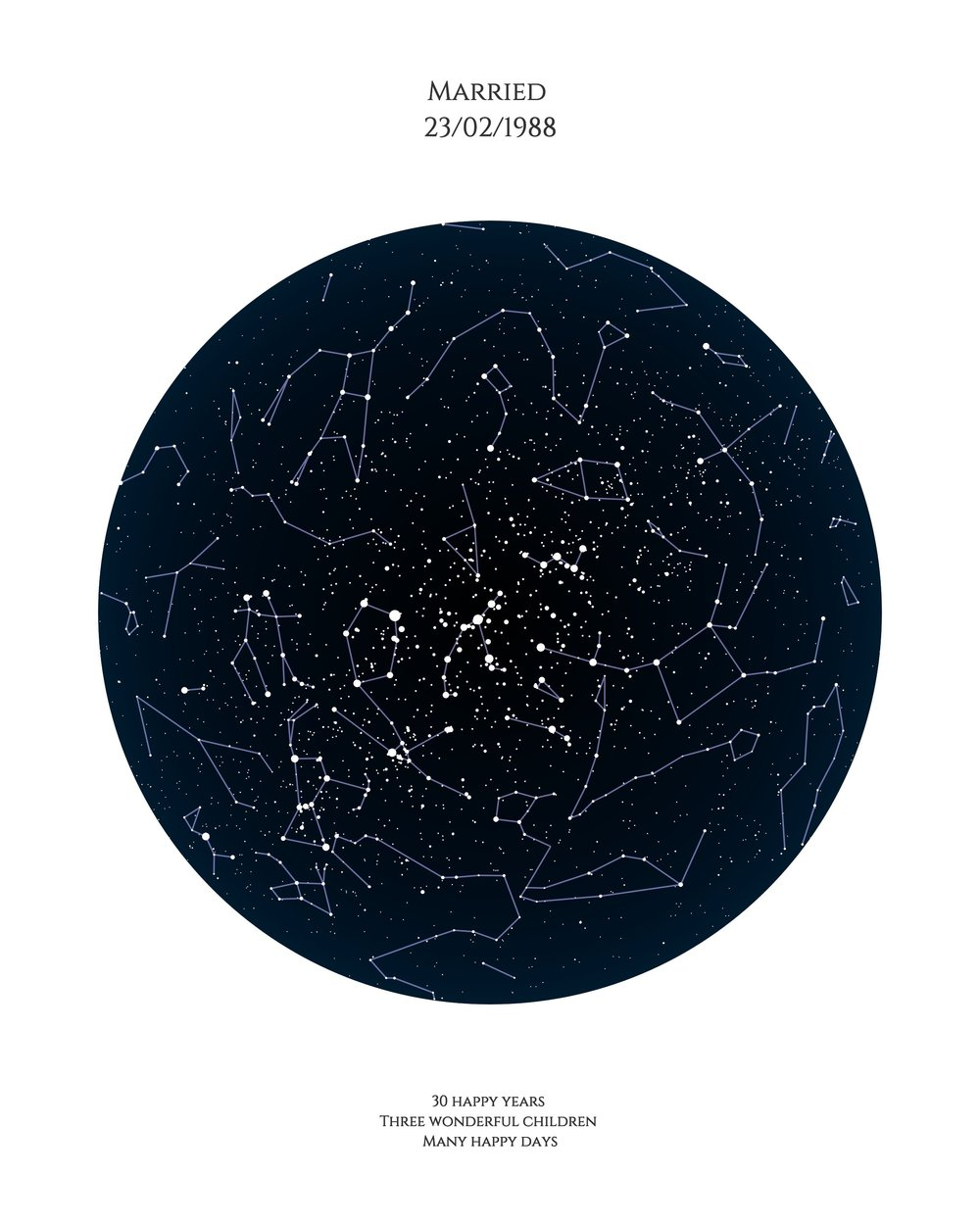 Star map - Use our star map design to celebrate a special occasion which means a lot to mum. As well as capturing the constellations in the sky, you can personalise this design with dates, quotes and captions for a meaningful Mother's Day gift.