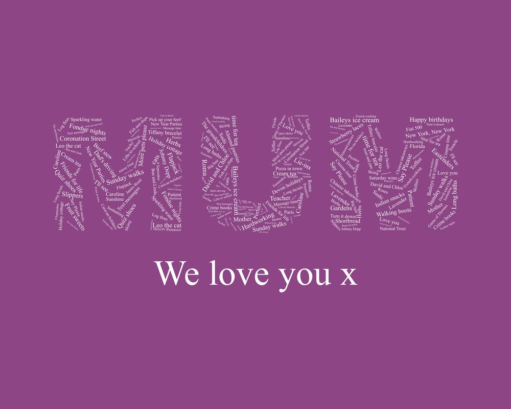 Words on Words  - Capture everything that is great about mum in word form - it's a piece of wall art that she'll cherish for years to come. With the possibility of adding hundreds of words, it's a great way to collate all those treasured family memories.