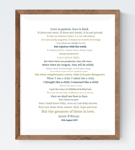 Word Wave - This design is perfect for the wedding speeches, commemorative texts, poetry and songs which played an integral part in your nuptials. You can pick out the lines which mean the most to you both and vary the intensity of the wave as you wish.