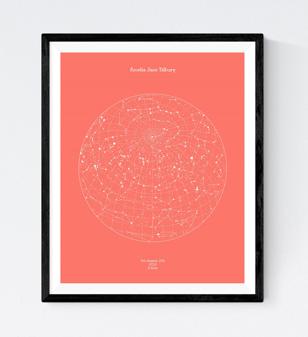 Star Map - Our popular Star Map design is now available in 16 different colours! We've got lots of colour options available which are perfect for a child's bedroom - pick your favourite for the perfect way to celebrate the birth date of a child. These make great presents for new parents as well.