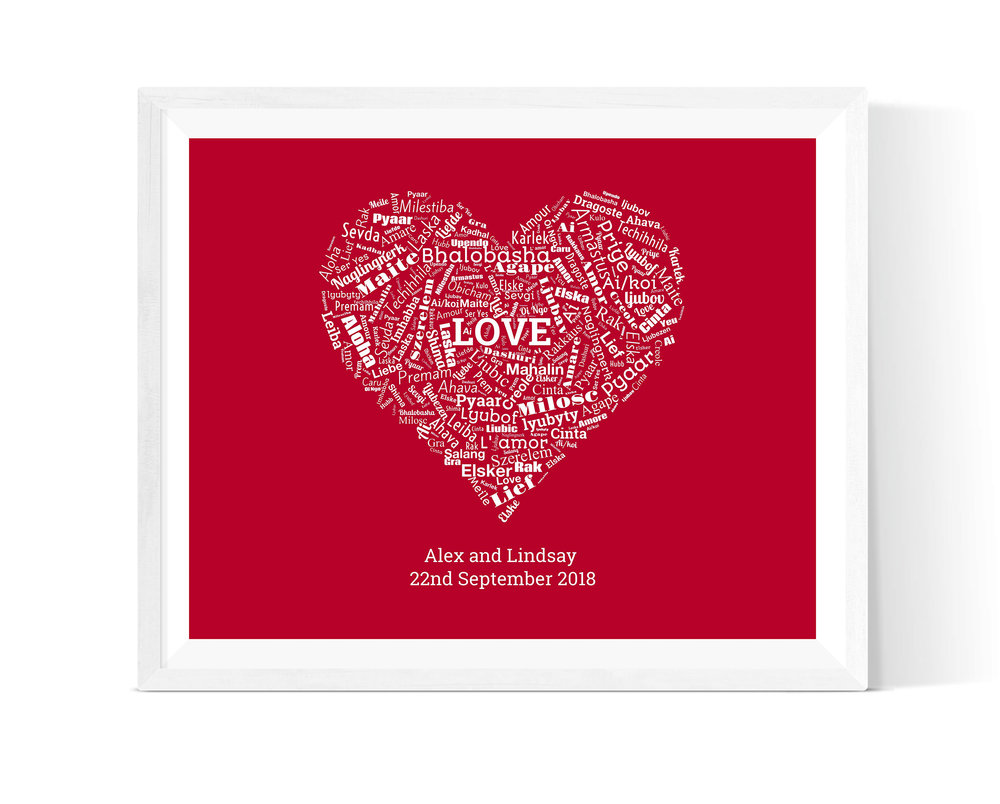 Word Shape - Create a lovely piece of wall art full of sentiments about each other in a shape of your choice (there are 27 to choose from!) We think this heart shape is perfect for Valentine's Day.