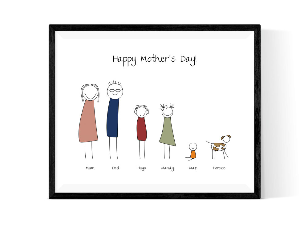 Family Portrait - This is a super way of capturing the whole family in print with a fun stick-figure representation of each of you. Personalise the title as you wish and add pets as well!