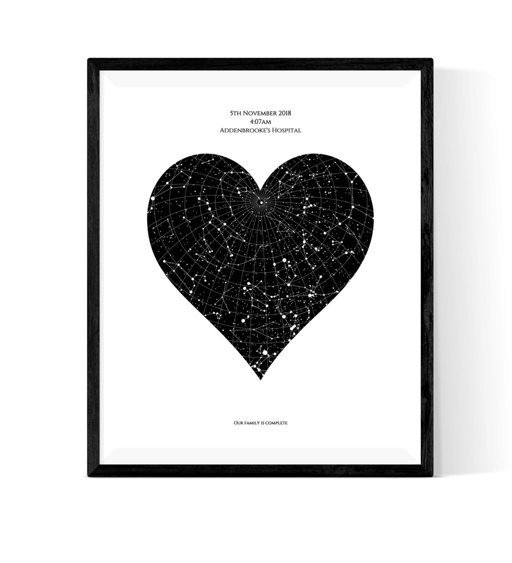 Heart Star Map - Here's a lovely twist on our original Star Map design. Capture the stars at a significant moment for mum in a beautiful heart shape. You can choose from a wide range of colour schemes for an eye-catching design which is bound to impress!