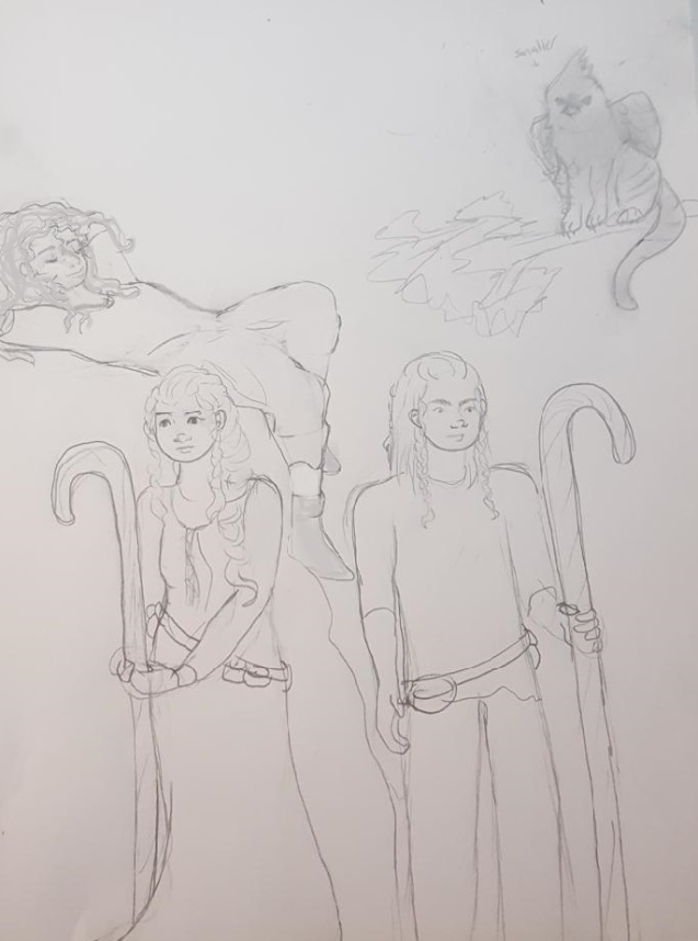Aella/Taryn/Michael/Lesser Gryphon - At this point I can't even imagine Aella in a dress. I think this was an earlier version before Nai existed.Michael's tunic is looking a little ragged too, oh dear.The lesser gryhon was (I believe)atufted titmouse tabby mixture. Not to scale in the least.