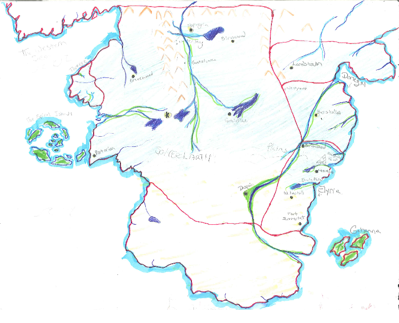 Early Map Design - The garish first rendition of the map of Somerlarth and the surrounding lands. I nixed the islands on the south-east coast, elongated the continent and the Dabsqin river changed course, among other things.