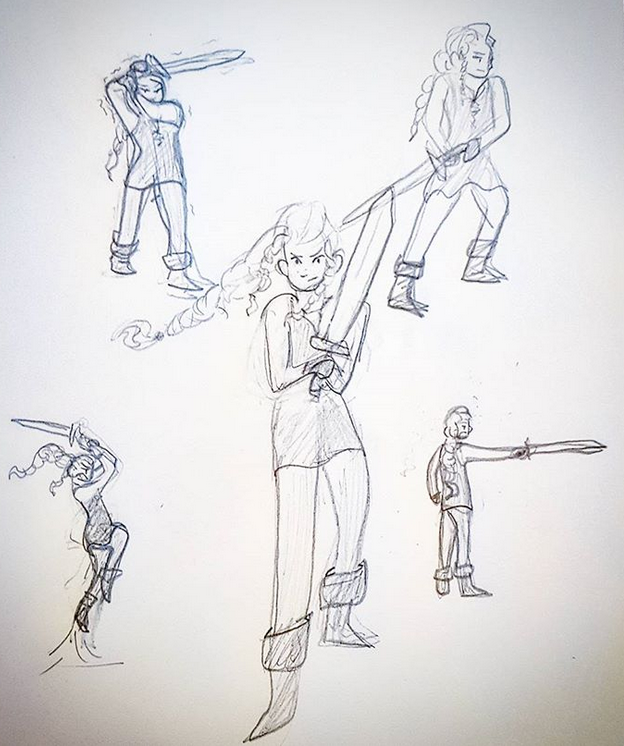 Early Taryn Sketches - When I was first designing Taryn I thought she might have sword skills to begin with. As it turns out, shepherds generally don't have access to swords. It's a nice idea for her later in the series though.