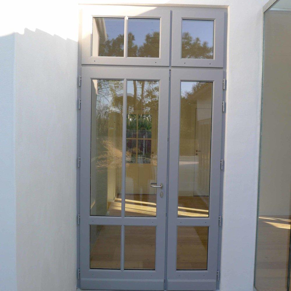 Porte fenêtre tiercé bois avec imposte