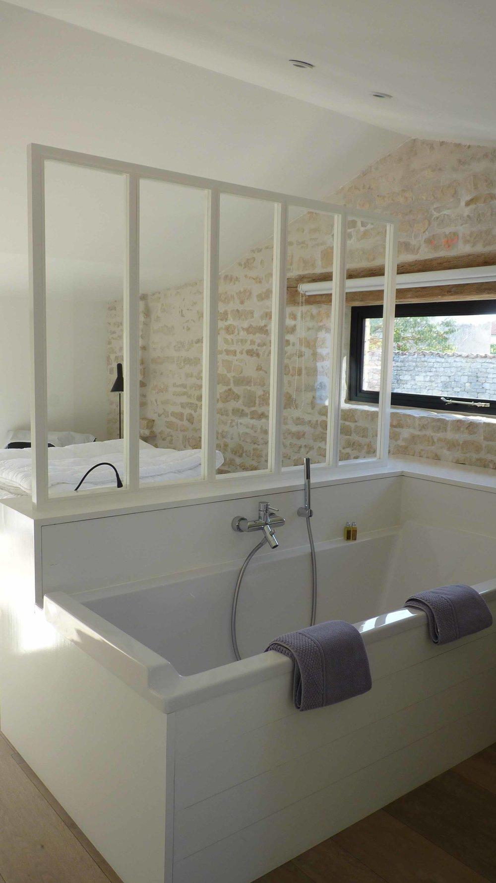 Cloison vitrée salle de bain /chambre
