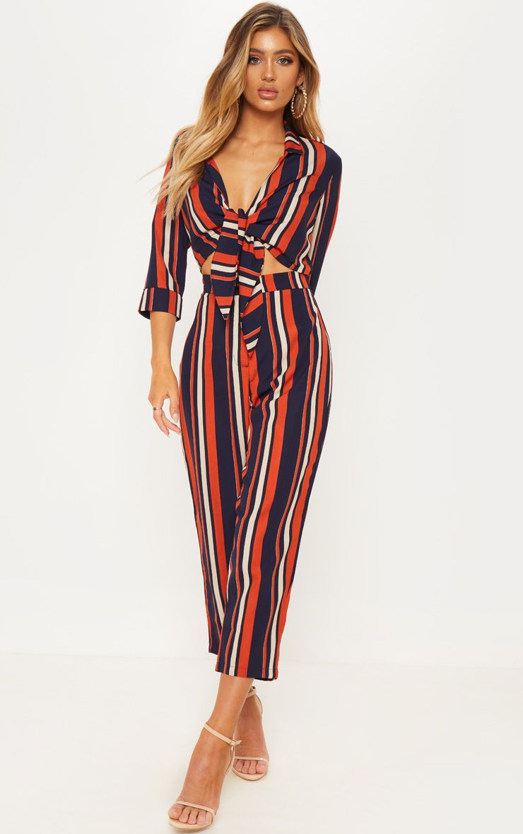 Rust and navy jumpsuit AW18/19 Autumn trends from Pretty Little Thing