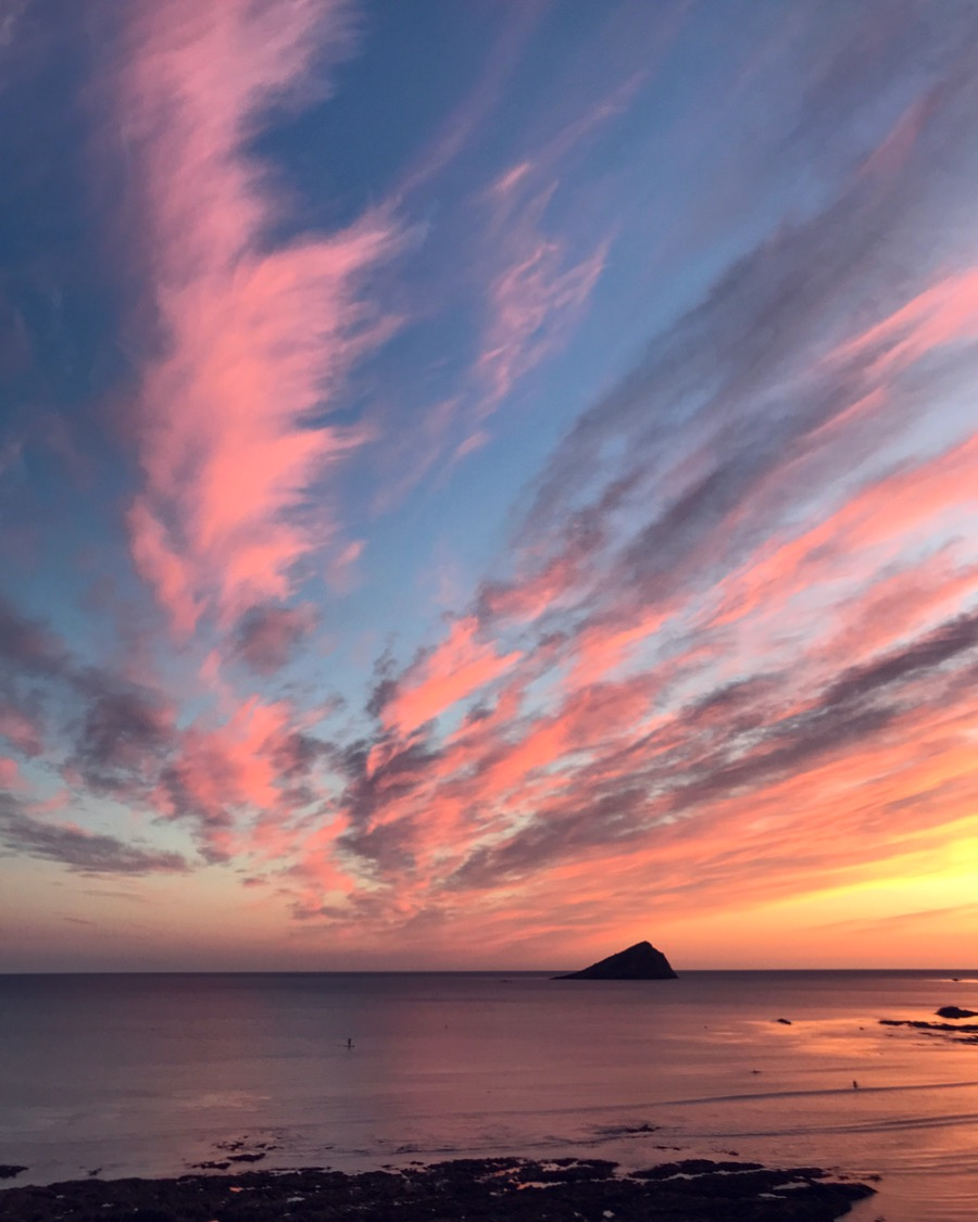 Sunset over Plymouth Sound taken on iPhone 7 from Wembury Beach September 2018