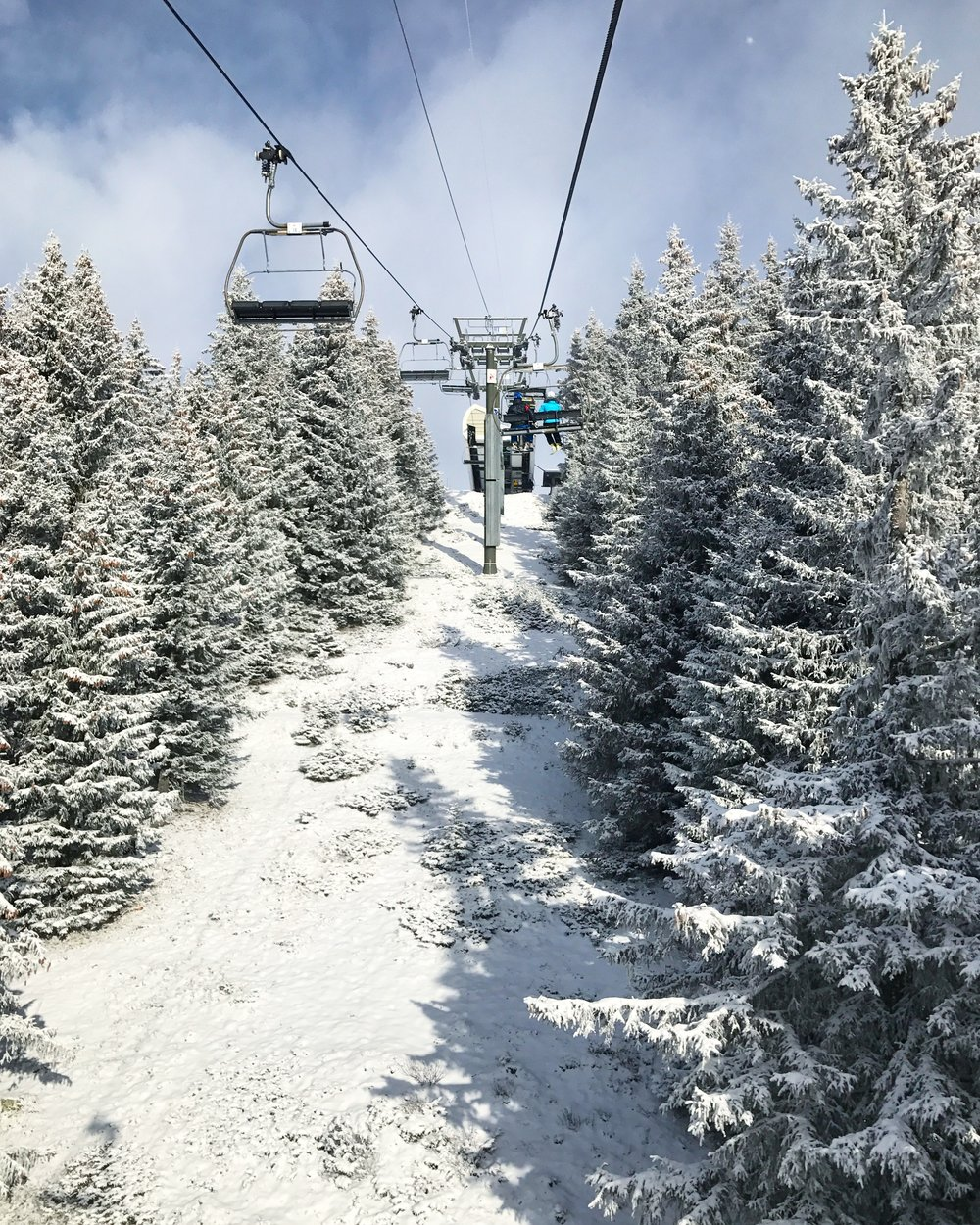 View from ski chairlift in St Gervais, Mont Blanc France. Snow covered trees taken January 2017