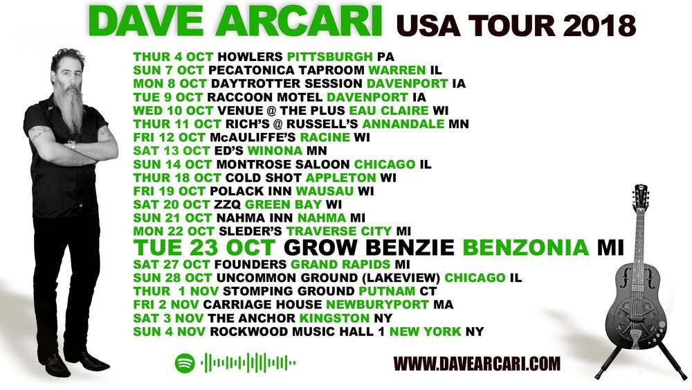 Scottish alt.blues troubadour Dave Arcari's sounds owe as much to trash country, punk and rockabilly as they do pre-war Delta blues. Don't miss his incredible live show on his East Coast/mid-West tour through October into November...  Tickets available at Grow Benzie, East Shore Market in Beulah, Frankfort Bookstore and Frankfort Community Drug. $20 advance and $25 at the door. 7pm showtime.