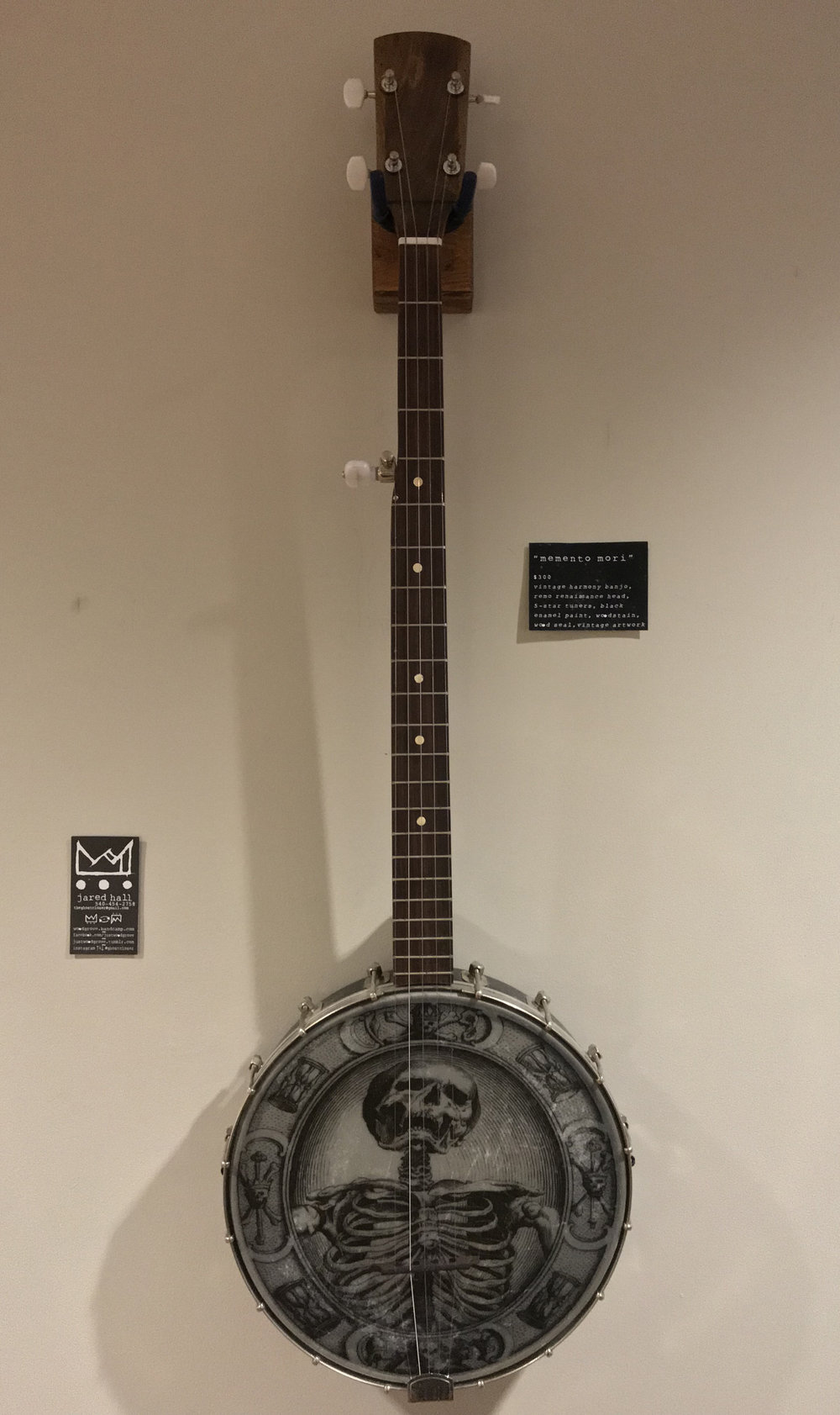 Memento Mori   $350 - SOLD vintage harmony banjo, remo renaissance head, 5-star tuners, black  enamel paint, woodstain, wood seal,vintage artwork