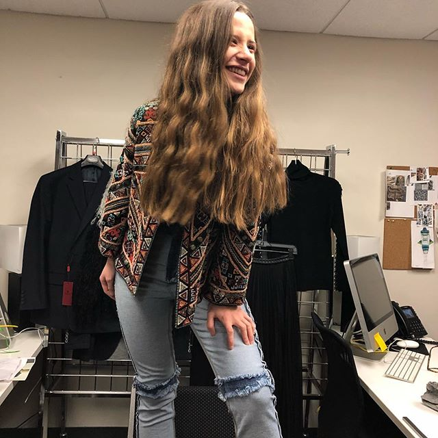 All smiles in the showroom! Previews from our fall collection! Check out Ines's inverse denim pants with our embroidered jacket. #nicolescloset #nyc #fashion #fashionista #chic #style #blog #intothecloset #brand #branded #nicoleduke #fashiondesigner