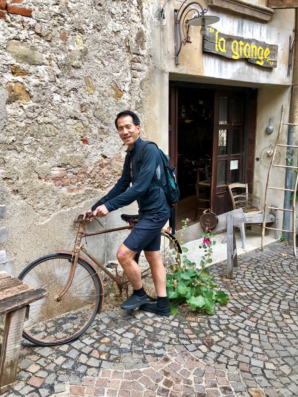 Trying the bike in Asolo