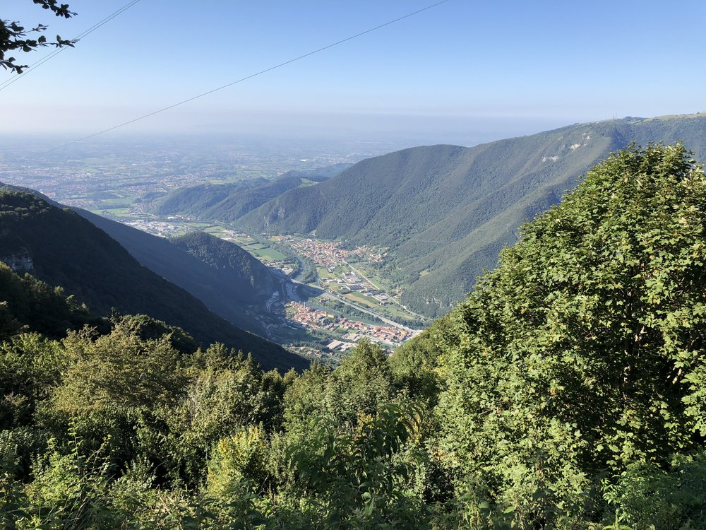 A brief stop while climbing Mount Grappa to admire the views!