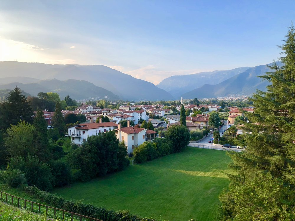 The town of Bassano Del Grappa is full of great restaurants, bars, history and views of the mountains