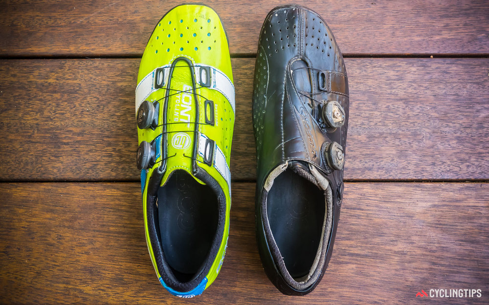 The forefoot region of the the Vaypor+ (left) is almost identical to the Vaypor S (right), but one look at the collar of the shoes is all that is needed to appreciate the difference in the mid- and hind-foot regions, which are both more generous for the Vaypor+.