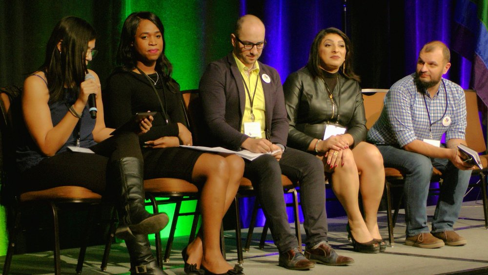 Gabriela Arrendondo speaking at the National LGBTQ Newcomer Settlement Conference in Calgary, Alberta. Photo courtesy of Centre for Newcomers.