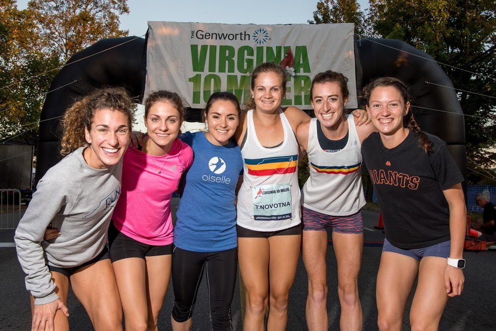 The Original Founders of the Raleigh Distance Project at our first race, the Virginia 10-Miler (from left): Sarah Rapp, Tristin Van Ord, Andie Cozzarelli, Tereza Novotna, Rita Dorry, & Erin Clark