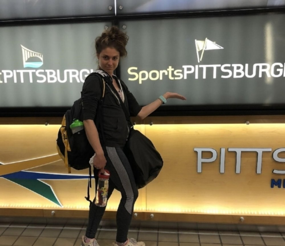 Tristin was excited when she made it to Pittsburgh!